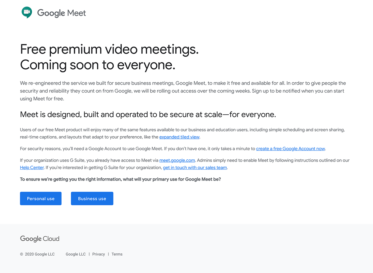 Google Meetが無料化!